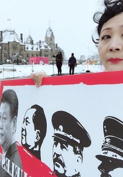 民陣副主席盛雪在渥太華示威聲討習近平3